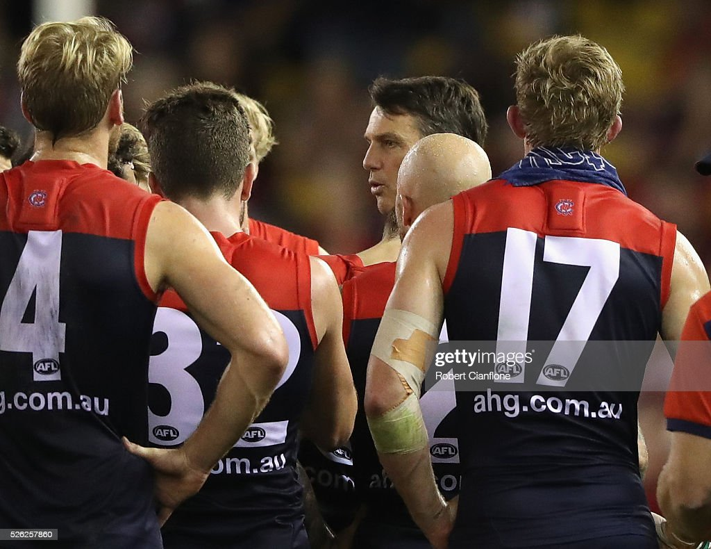 Demons coach Paul Roos speaks to his players at the break during the round six AFL match between the Melbourne Demons and the St Kilda Saints at Etihad Stadium on April 30, 2016 in Melbourne, Australia.