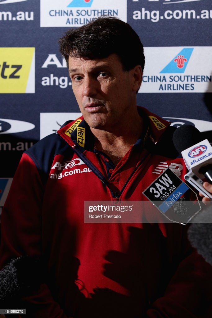 Demons coach Paul Roos speaks to the media during a Melbourne Demons AFL media session at AAMI Park on April 14, 2014 in Melbourne, Australia.