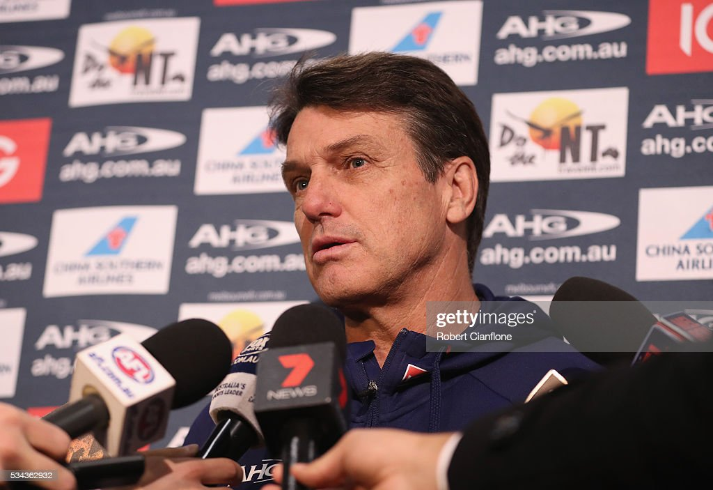 Demons coach <a gi-track='captionPersonalityLinkClicked' href=/galleries/search?phrase=Paul+Roos&family=editorial&specificpeople=193840 ng-click='$event.stopPropagation()'>Paul Roos</a> speaks to the media during a Melbourne Demons AFL press conference at AAMI Park on May 26, 2016 in Melbourne, Australia.