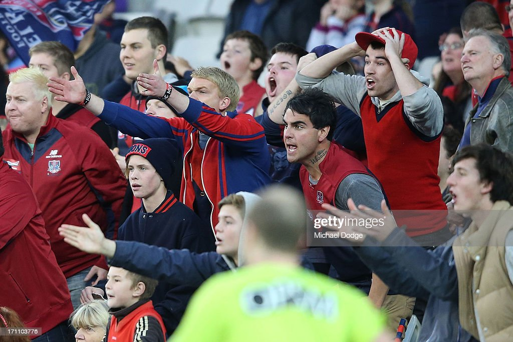 Demons fans react after an umpires decision during the round 13 AFL match between the St Kilda Saints and the Melbourne Demons at Melbourne Cricket Ground on June 22, 2013 in Melbourne, Australia.