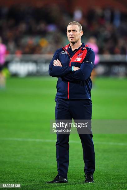 Demons head coach Simon Goodwin looks on prior to the round eight AFL match between the Adelaide Crows and the Melbourne Demons at Adelaide Oval on...