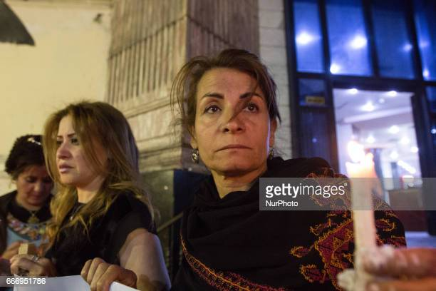 Demonstrated in Cairo Egypt on 10 April 2017 by candles in front of the Journalists Syndicate to solidarity with the victims of the bombing of...
