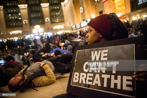 Demonstraters hold a diein in Grand Central Terminal protesting the Staten Island New York grand jury's decision not to indict a police officer...