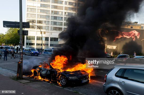 Demonstrates burned a car in Hamburg Germany on July 6 2017 The police stopped the leftradical demonstration quotG20 Welcome to Hellquot and...