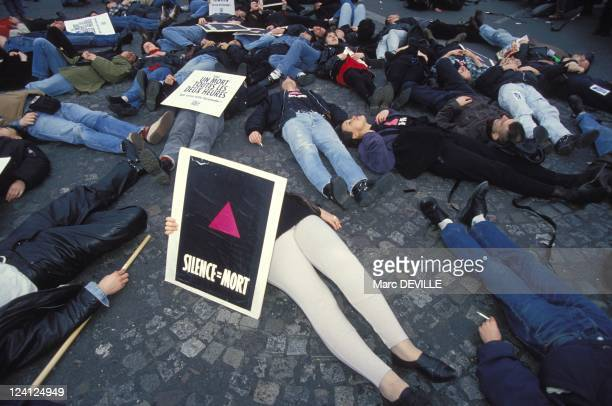 Demonstration against CIP In Paris France On March 12 1994 Act Up militants