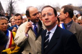 Demonstration against National Front in Paris France on March 28 1998 Laurent Fabius and Francois Hollande