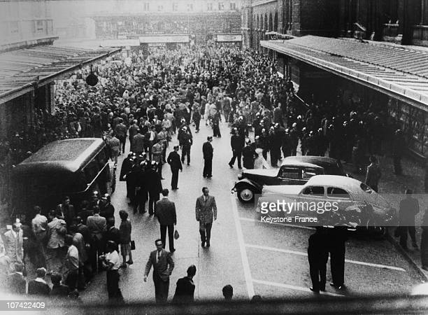 Demonstration Against The Arrival Of The Us General Ridgway At Saint Lazare Railway Station In Paris On May 24Th 1952