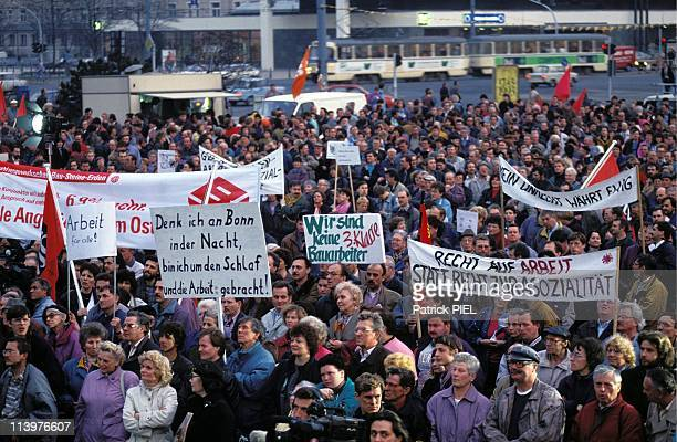 Demonstration against the crisis in Leipzig Germany on March 22 1993