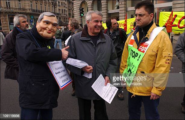 Demonstration Against The Privatization Of The French Electricity And Gas Board On April 8 2004 In Paris France Alain Krivine Of The French...