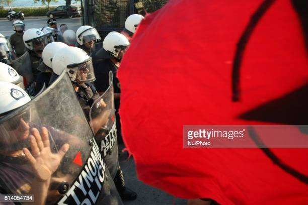 Demonstration against the visit of the President of the European Commission JeanClaude Juncker outside the Hellenic broadcasting television ERT3 in...