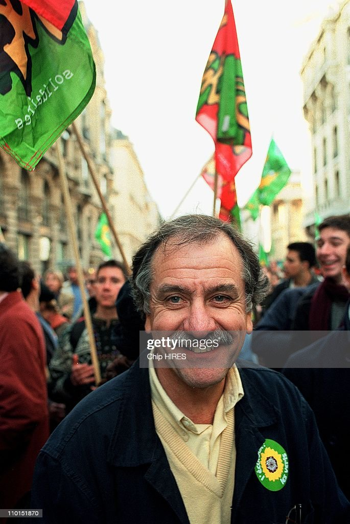 Demonstration against WTO in Paris, France on November 27, 1999 - Green Representative <a gi-track='captionPersonalityLinkClicked' href=/galleries/search?phrase=Noel+Mamere&family=editorial&specificpeople=686128 ng-click='$event.stopPropagation()'>Noel Mamere</a>.