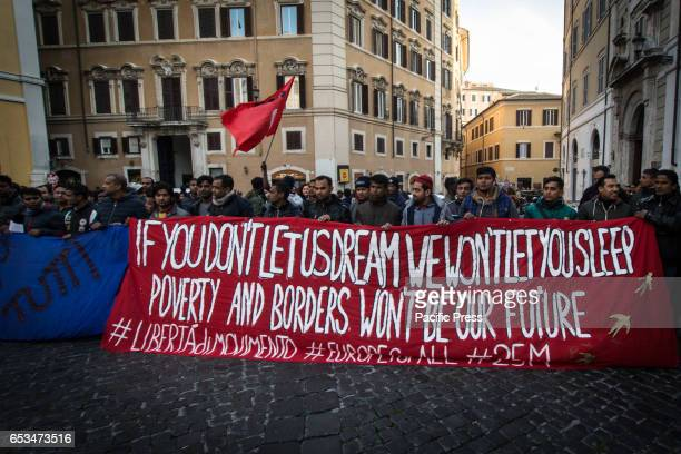 Demonstration and sitin in the square Montecitorio of migrant associations and some actually Italian associations protest against the decree on...