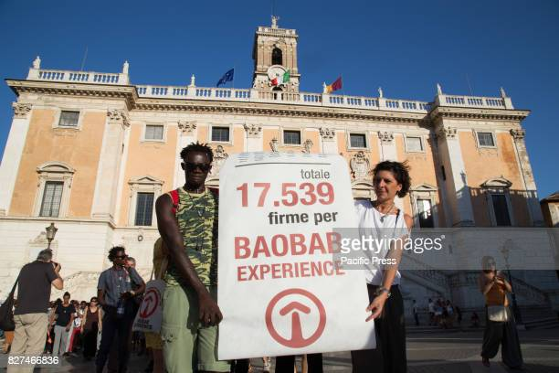 CAMPIDOGLIO ROMA RM ITALY Demonstration at Piazza del Campidoglio in Rome organized by the volunteers and migrants of the Baobab Experience...