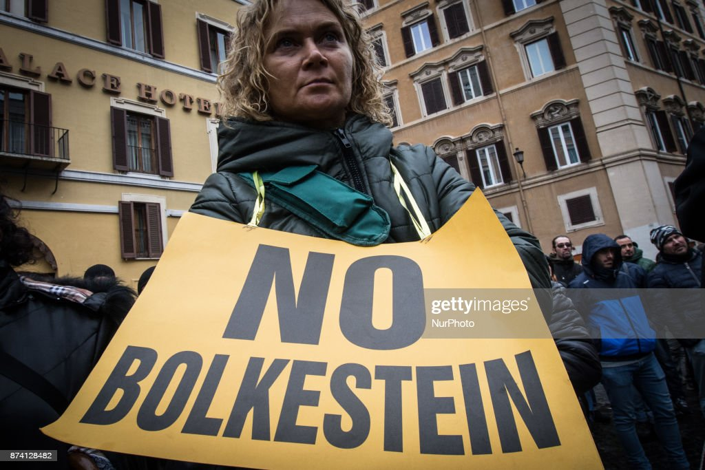 Demonstration at Piazza Montecitorio in front of Parliament against Bolkestein, the demonstrators ask to exclude the category from the European directive that penalizes them at work. on November 14, 2017 in Rome, Italy.