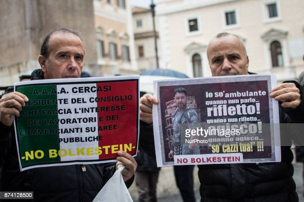 Demonstration at Piazza Montecitorio in front of Parliament against Bolkestein the demonstrators ask to exclude the category from the European...