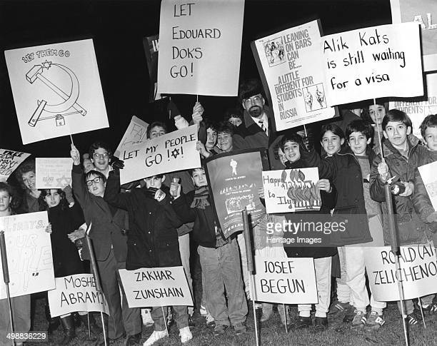 Demonstration for the release of Russian Jews Middlesex 1985 Protesters holding a torchlight vigil outside a sixth form college at Harrow in...