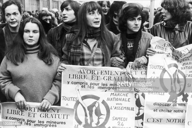 Demonstration in Favor of Abortion in Paris France on April 24 1979