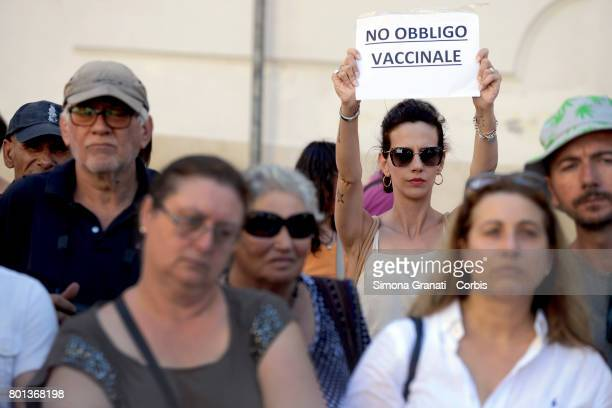Demonstration in front of Parliament against the Compulsory vaccination issued by the Government on June 26 2017 in Rome Italy