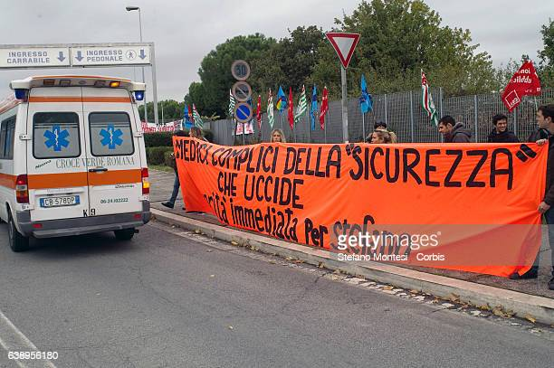 Demonstration in front of the hospital Sandro Pertini to ask truth and justice for Stefano Cucchihe surveyor Roman age 31 died October 22 while in...