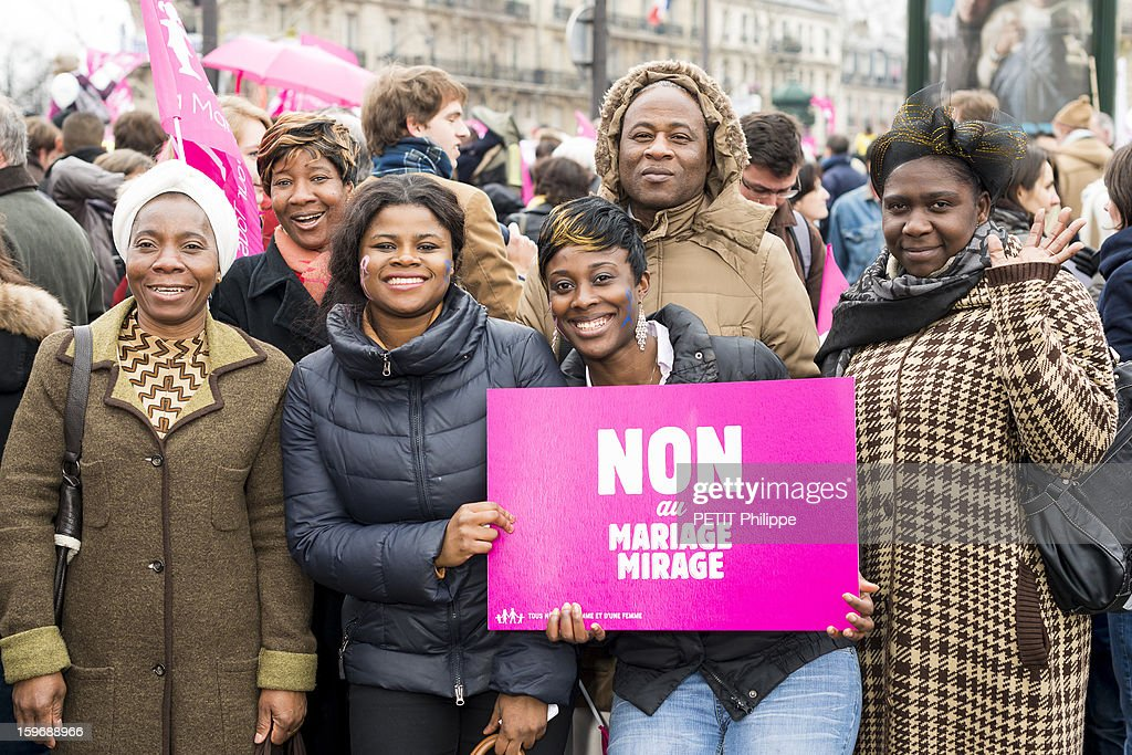 Demonstration in Paris against the bill 'Marriage for All' or homosexual marriage, campaign promise of President Francois Hollande, People from Ivory Coast in Paris on January 13, 2013.