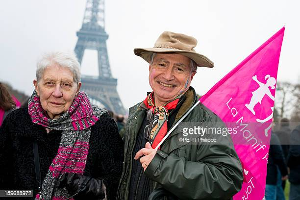 Demonstration in Paris against the bill 'Marriage for All' or homosexual marriage, campaign promise of President Francois Hollande, Jeanin 93 years old and Bernard atPlace du Champs de Mars in Paris on January 13, 2013.