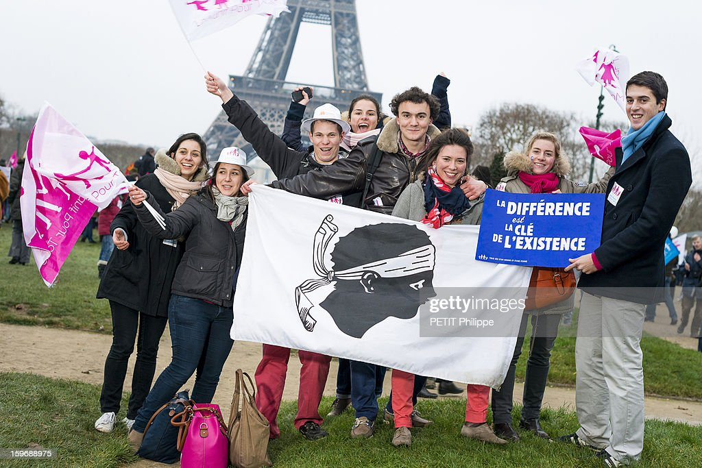 Demonstration in Paris against the bill 'Marriage for All' or homosexual marriage, campaign promise of President Francois Hollande, Students from Lyon and Corse at Place du Champs de Mars in Paris on January 13, 2013.