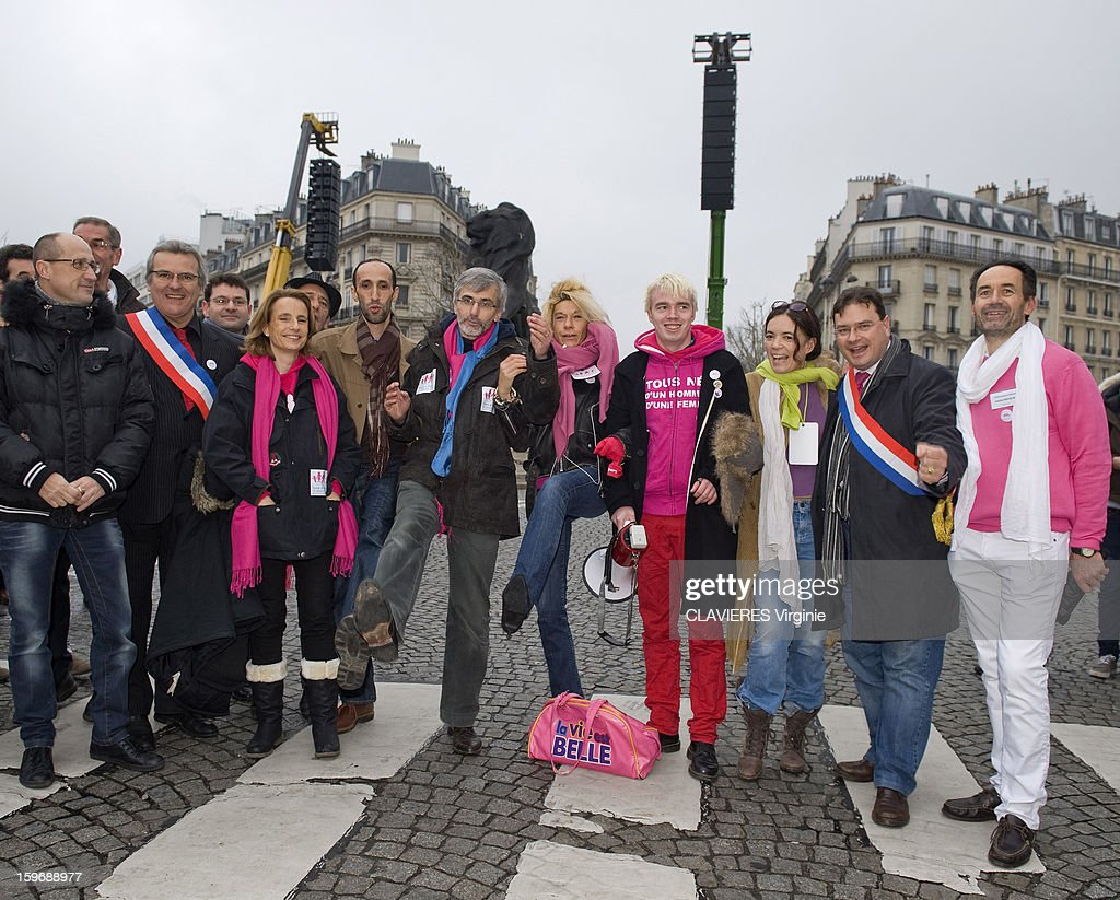 Demonstration in Paris against the bill 'Marriage for All' or homosexual marriage, campaign promise of President Francois Hollande, the representative of all groups, from left to right, Phillippe Brillaut, Beatrice Bourges, Camel Bechikh, Tugdual Derville, Frigide Bardot, Xavier Bongibaud, Laurence Tcheng, Laurent Michelin at Place Denfert-Rochereau in Paris on January 13, 2013.