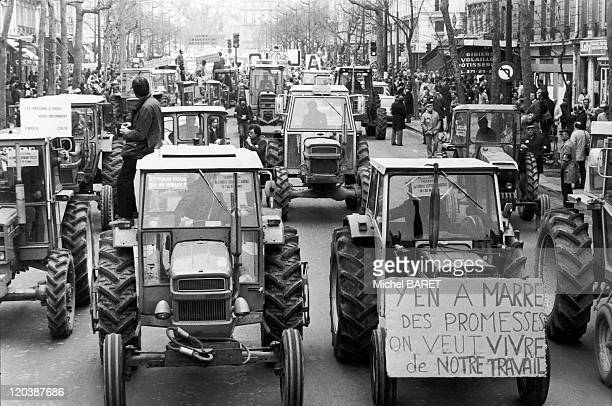 Demonstration in Paris France on March 23 1983 Farmers demonstration of FNSEA