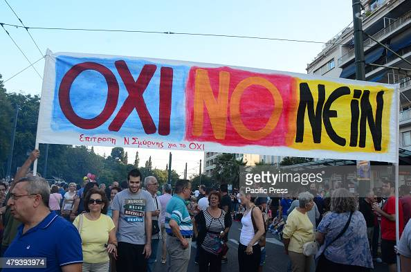 A demonstration in Syntagma square in support of a 'NO' vote on the 5th of July referendum that will decide the fate of the negotiations between the...