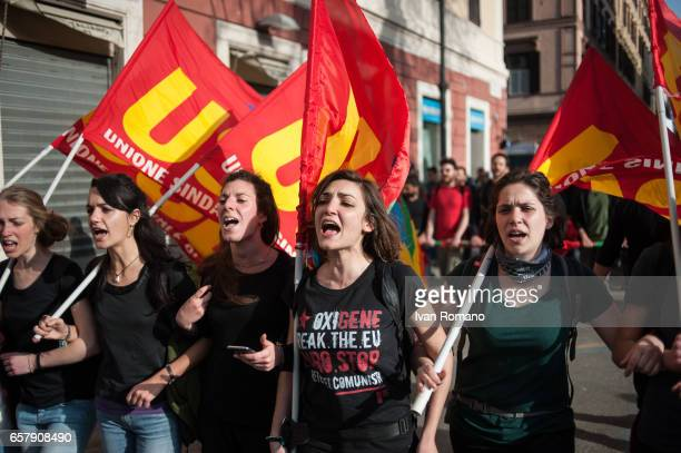 Demonstration march of EuroStop groups that saw the participation of about 5000 people during the visit of European leaders for the celebrations of...