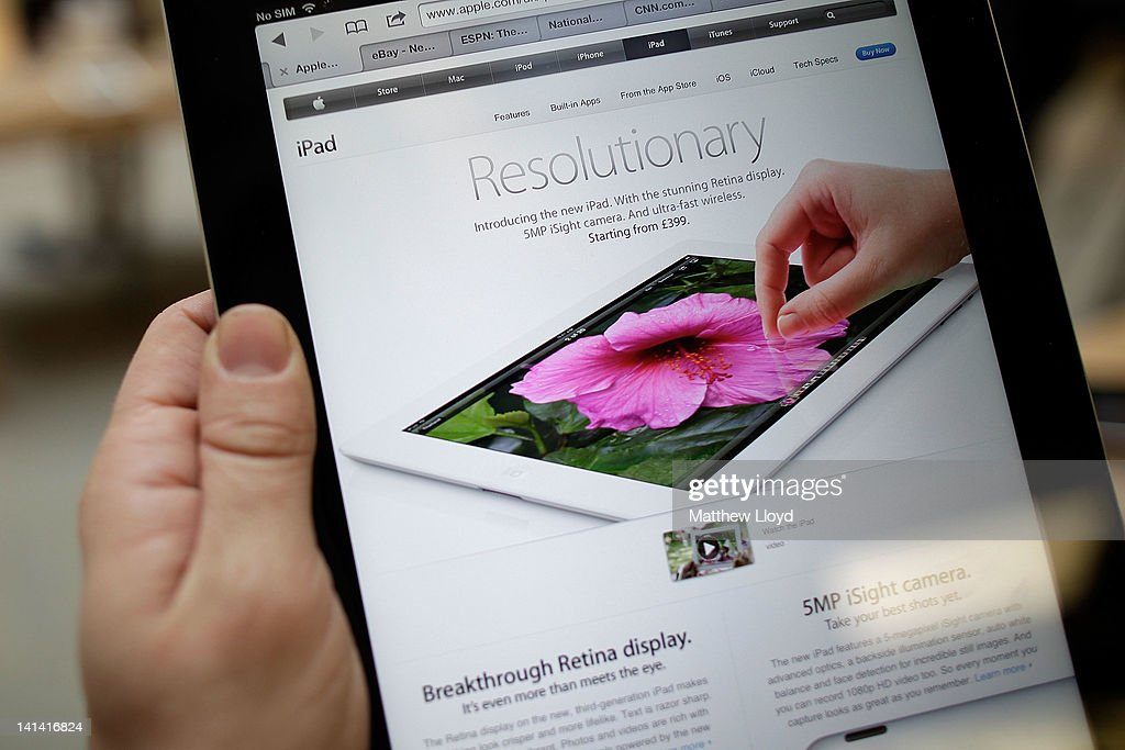 Demonstration models of Apple's new iPad on display at the Apple Store in Covent Garden on March 16, 2012 in London, England. The new iPad 3 goes on sale today with many fans queuing overnight and at some stores since last Saturday to buy Apple's newest gadget, listed as featuring 4G connectivity and an ultra high resolution screen.