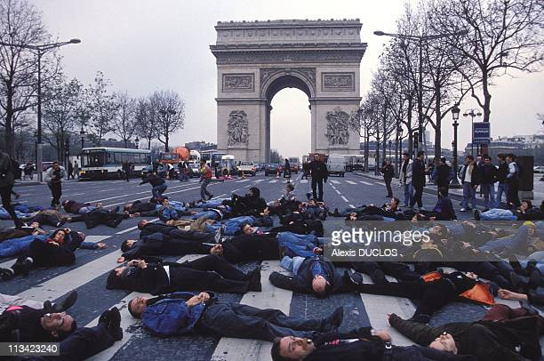 Demonstration Of Act'Up On Champs Elysees On December 01st 1994