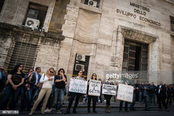 Demonstration of Alitalia workers against the reorganization plan in front of the Ministry of Economic Development