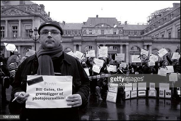 Demonstration Of Corbis Sygma Photo Press Agency Front The 'Palais Royal' In Paris On August 2Nd 2002 In Paris France The 191 Employees Of Bill...