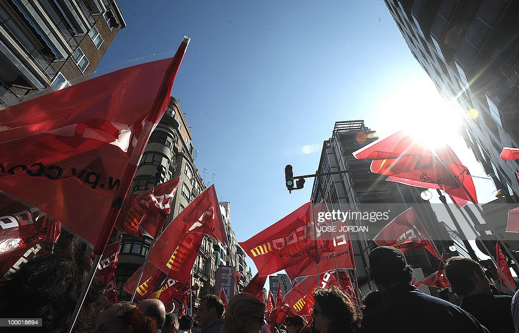Demonstration of Goverment employees against Spain's austerity policy in Valencia, on May 20, 2010. Thousands of public sector workers took to the streets of Spain Thursday to protest a tough government austerity plan aimed at reining in the public deficit and easing fears of a Greek-style debt crisis.