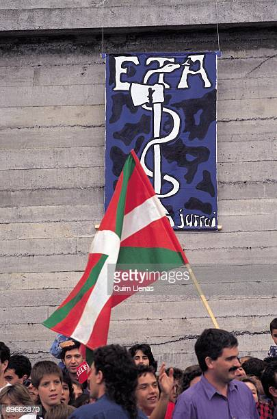 Demonstration of Herri Batasuna Basque flag and emblem of ETA in Herri Batasuna´s manifestation for the negotiation between ETA and the Government...
