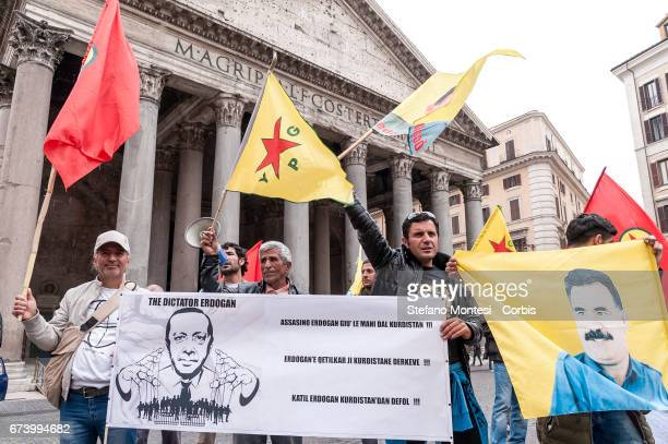 Demonstration of Kurdistan Network Rome to protest against the attacks of the Turkish army to Kurdish villages in Iraq's yezidi villages Rojava at...