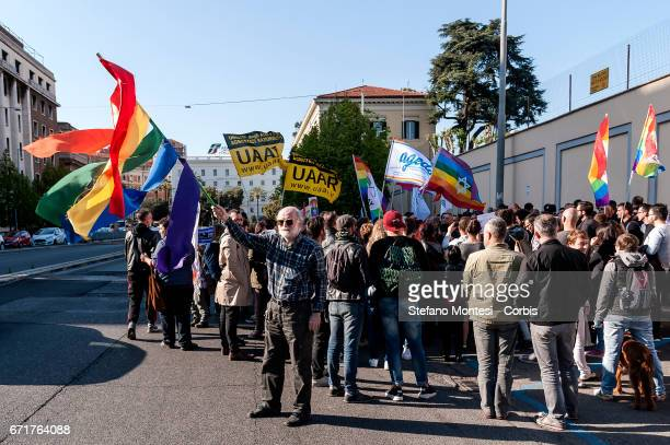 Demonstration of LGBT Associations in front of the Russian Embassy on April 22 2017 in Rome Italy Speakers referenced reports from Chechnya where...
