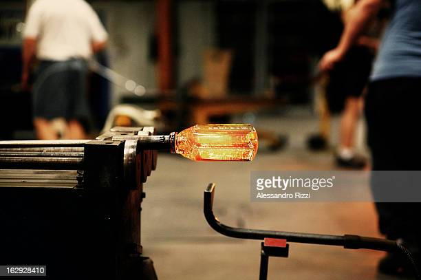 Demonstration of making a cup from a molten glass