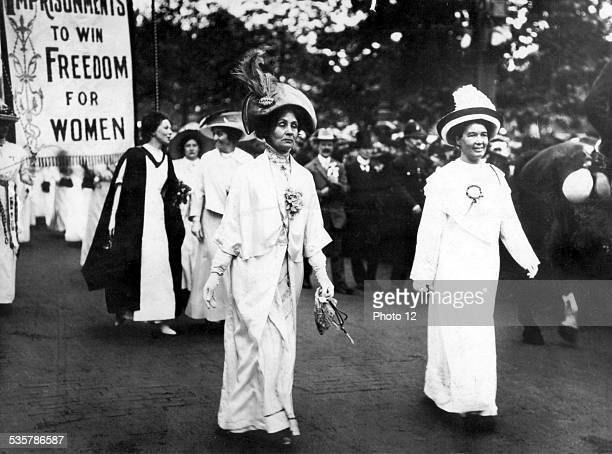 Demonstration of suffragettes in London Great Britain