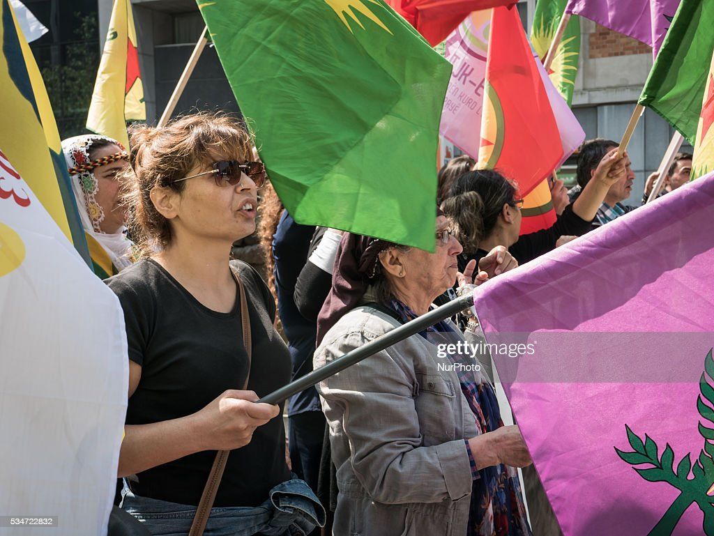 Demonstration of the Kurdish Diaspora in front of the European Council against the decision of the Turkish Parliament to lift the Parliamentary immunity and to allow the prosecution of the Kurdish MP's. They were about 100 in Brussels, Belgium, on May 27, 2016.
