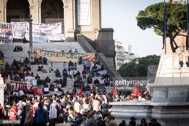 Demonstration of the movements for the right to housing at the Capitol in Italy