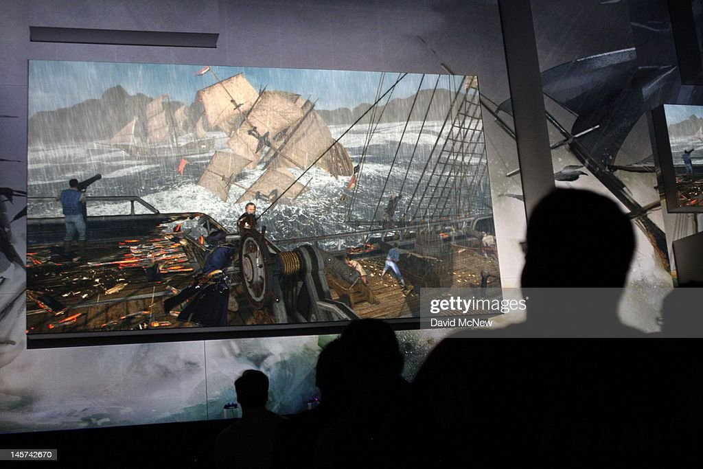 A demonstration of the ocean-based 'Assassin's Creed 3' game is shown to the audience at the Sony press conference on the eve of the Electronic Entertainment Expo (E3) on June 4, 2012 in Los Angeles, California. E3 is the most important yearly trade show the $78.5 billion videogame industry.