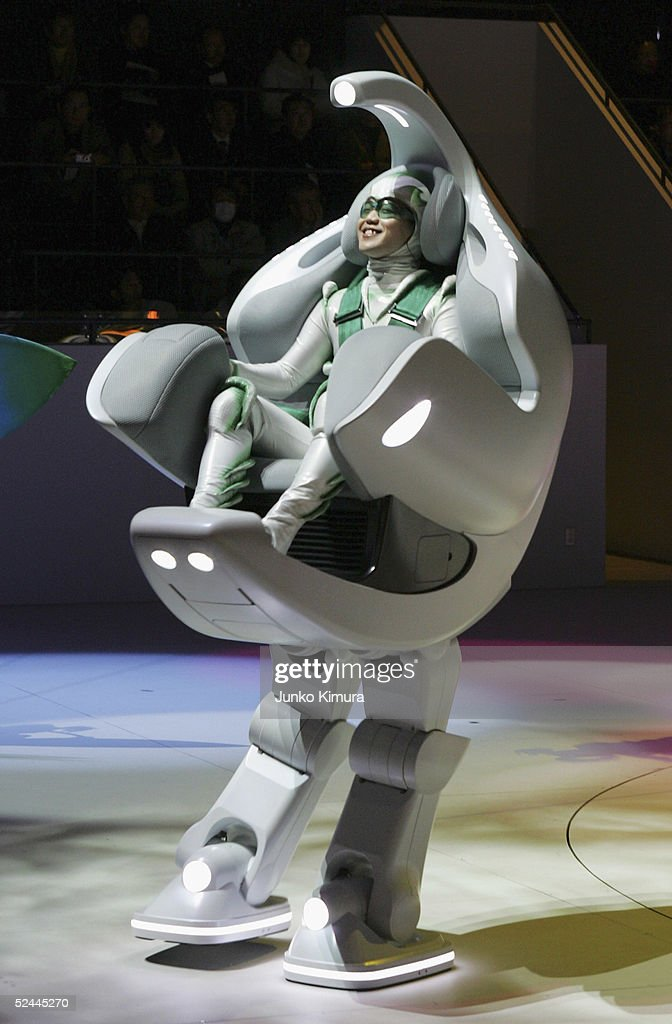 A demonstration of Toyota Motor Corporation's humancontrolled walking robot 'ifoot' during the press day of the Aichi World Exposition 2005 on March...