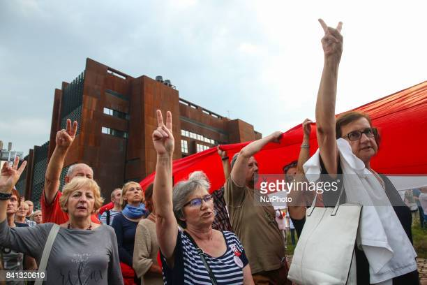 A demonstration organised by Committee for the Defence of Democracy in front of European Solidarity Centre during 37th anniversary of the Gdansk...