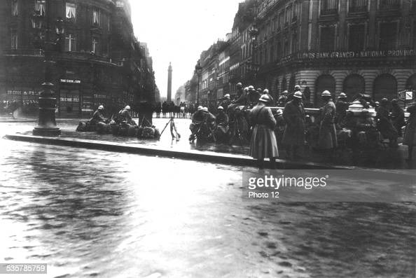 Demonstration repressed by the army in Paris France May Day 1919