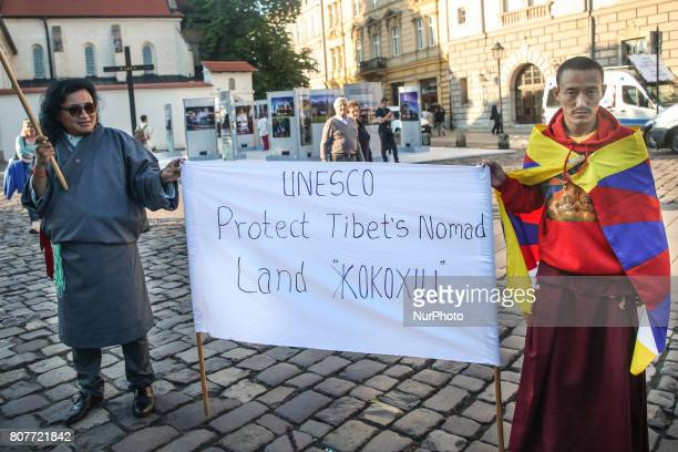 Demonstration supporting Tibetan nomads of Kokoxili area during the Opening Ceremony of the 41st Session of the World Heritage Committee in Krakow...