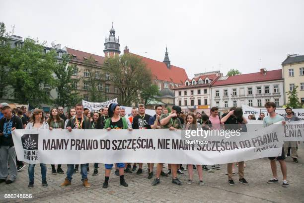 Demonstration to demand the legalization of marijuana in Krakow Poland on 20 May 2017