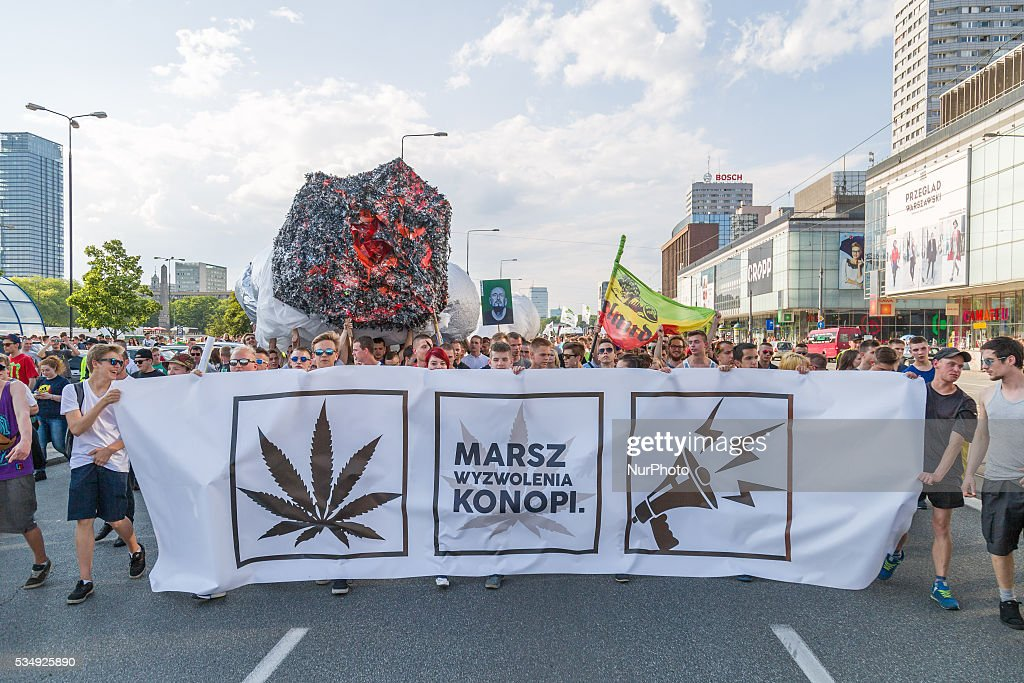 Demonstration to demand the legalization of marijuana organized by Free Hemp movement on 28 May 2016 in Warsaw, Poland.