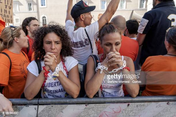 Demonstrations held in front of Senate against compulsory vaccination policy desired by the government on July 18 2017 in Rome Italy The Italian...